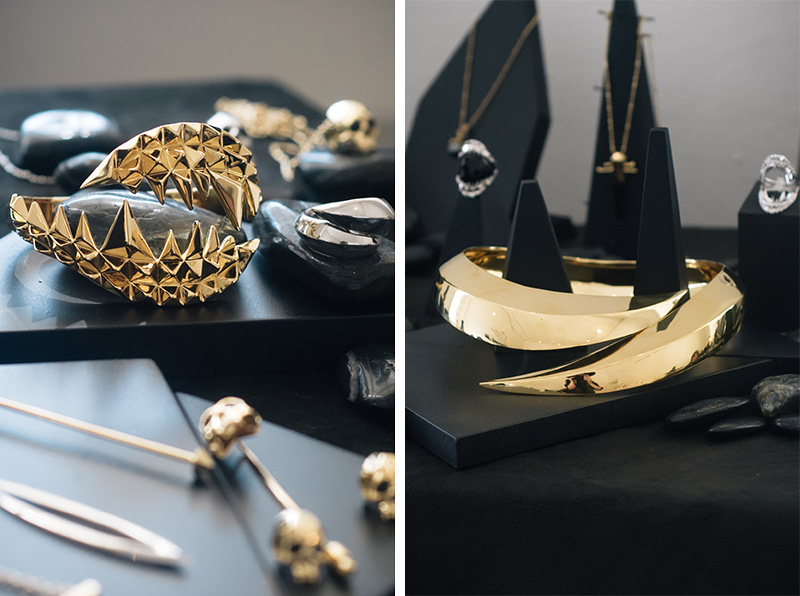 London Fashion Week Spring Summer 2015 Designer Showrooms Somerset House Kasun London gold statement claw necklace collar & fang bite cuff
