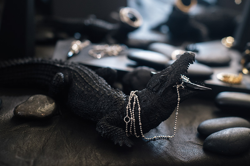 London Fashion Week Spring Summer 2015 Designer Showrooms Somerset House Kasun London crocodile display silver claw necklace