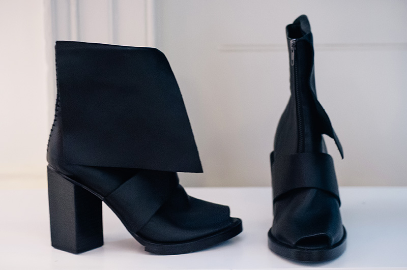 London Fashion Week Spring Summer 2015 Designer Showrooms Somerset House Haizhen Wang black leather block heel asymmetric boots