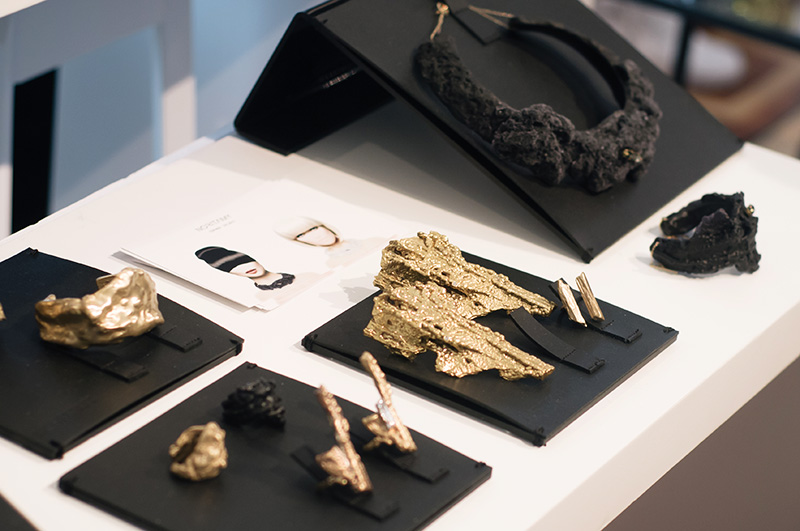 London Fashion Week Spring Summer 2015 Designer Showrooms Somerset House Noritamy jewellery black and gold statement organic necklaces, rings, cuffs