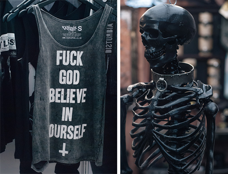 FAIIINT London Edge 2014 the new alternative fashion trade show Disturbia fuck god believe in yourself tank & black skeleton