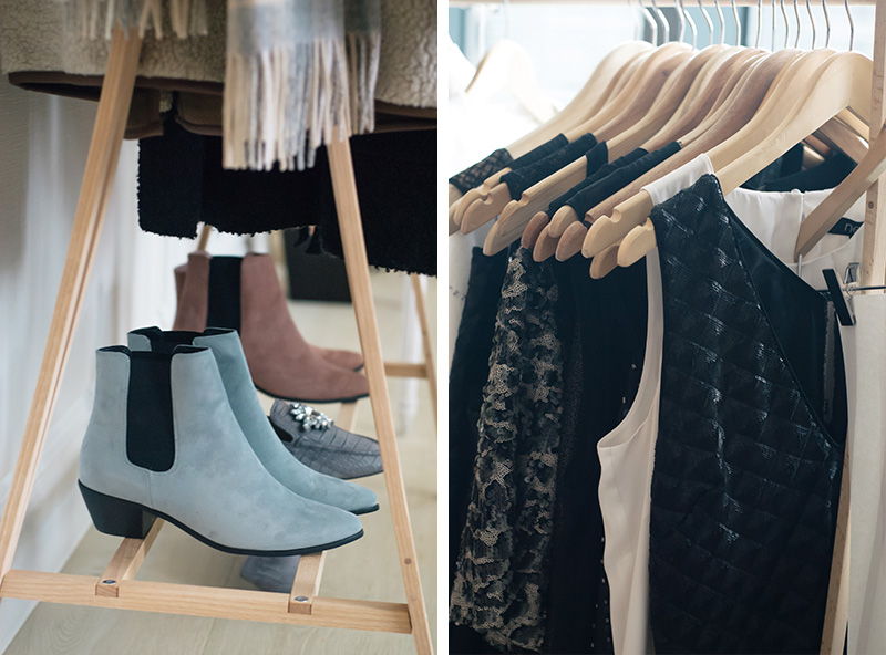 FAIIINT Next clothing New In Autumn Winter 2014 blogger press day event. Pastel blue & pink suede chelsea boots, beaded black shift dress