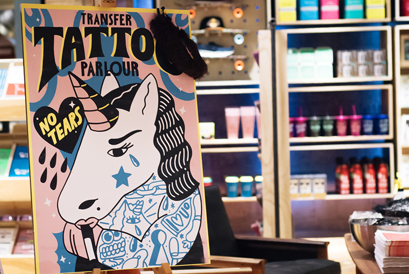 Urban Outfitters Leicester Store Launch temporary transfer tattoo parlour