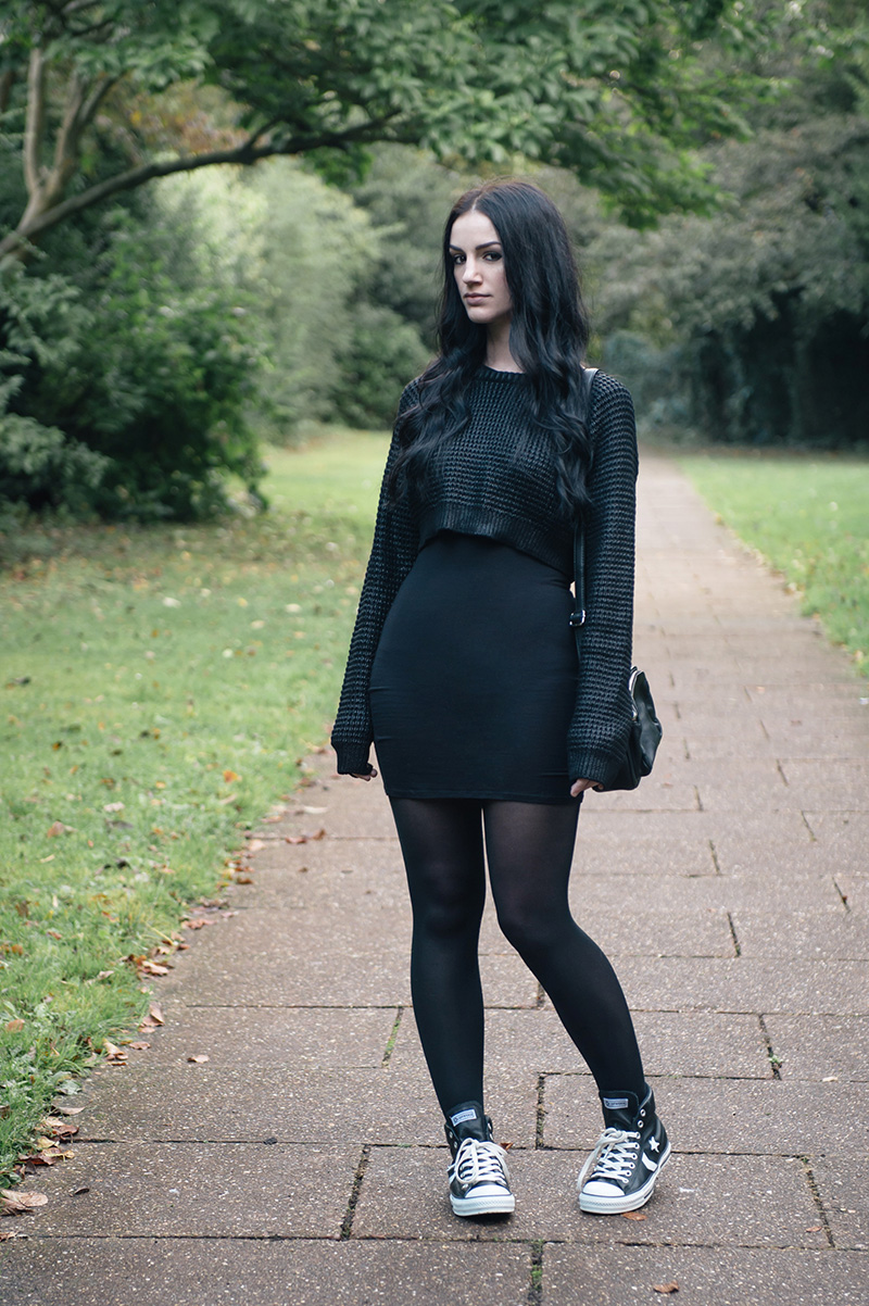 Fashion blogger Stephanie of FAIIINT wearing The Ragged Priest cropped coated sweater, ASOS dress, Converse Star Player leather high tops, Betty Jackson Black at Debenhams cross body zip bag. All black slouchy casual street style outfit.
