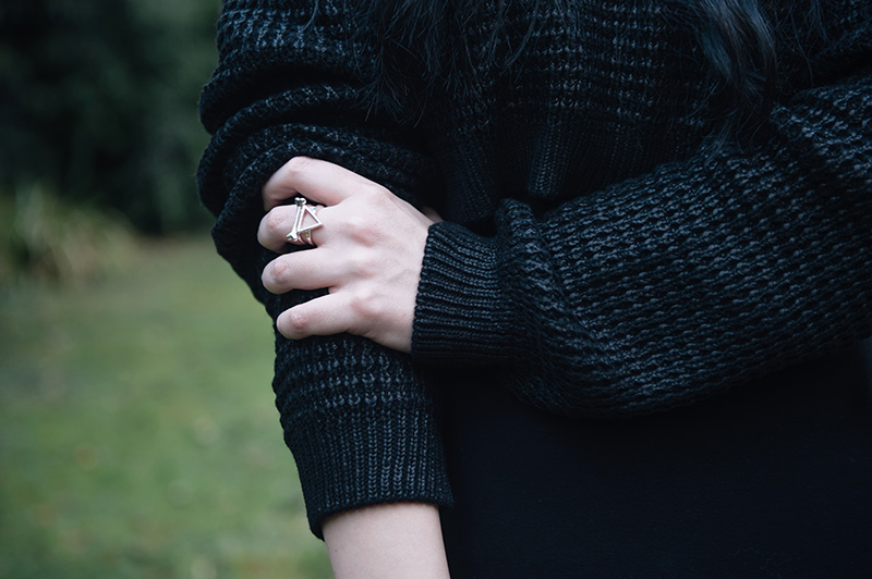 Fashion blogger Stephanie of FAIIINT wearing The Ragged Priest cropped coated sweater, Bloody Mary Metal Fire Alchemy & Lonely Bone silver rings. Outfit details.