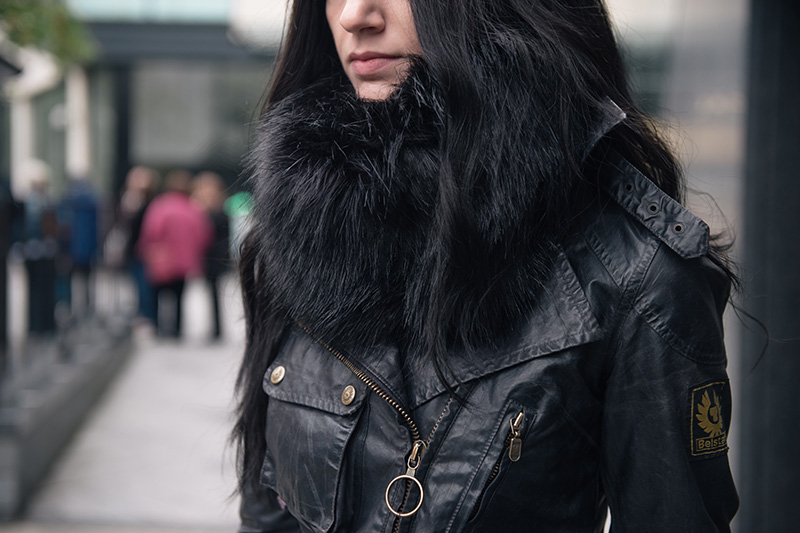 Fashion blogger Stephanie of FAIIINT wearing FAIIINT faux fur snood, Belstaff Sammy Miller waxed jacket. All black street style outfit details.
