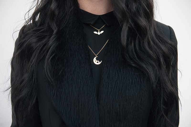 Fashion blogger Stephanie of FAIIINT wearing Todd Lynn x Topshop cropped tux jacket, H&M shirt dress, Phoebe Jewellery moonstone crescent moon & little bat gold necklace. Outfit details.