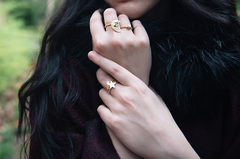 Fashion blogger Stephanie of FAIIINT wearing Phoebe Jewellery gold double moonstone moon & star ring and gold & silver mix star stacking rings. Details.