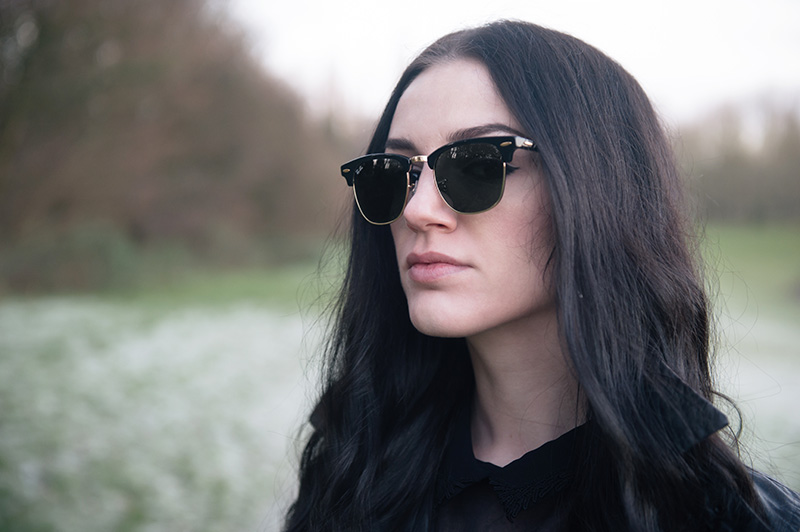 Fashion blogger Stephanie of FAIIINT wearing Ray Ban Clubmaster.