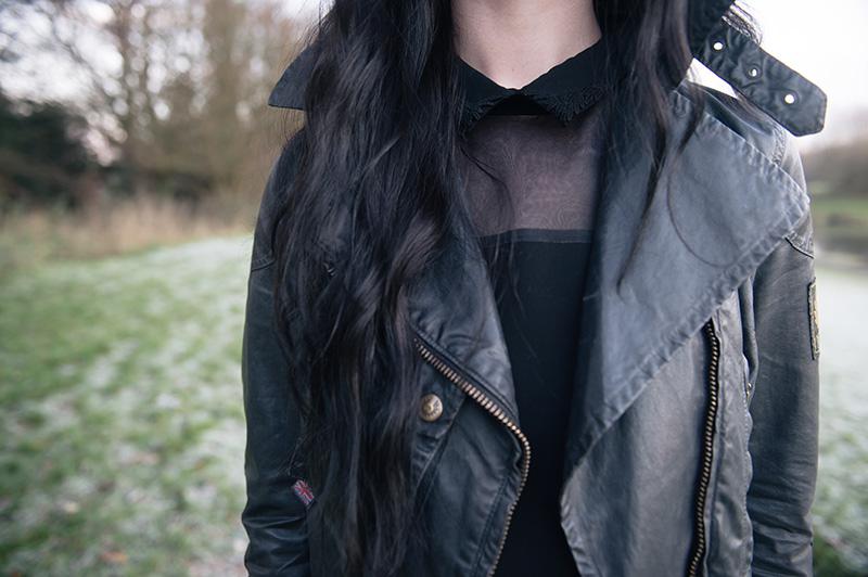 Fashion blogger Stephanie of FAIIINT wearing Belstaff waxed sammy miller biker jacket, The Kooples shirt dress.