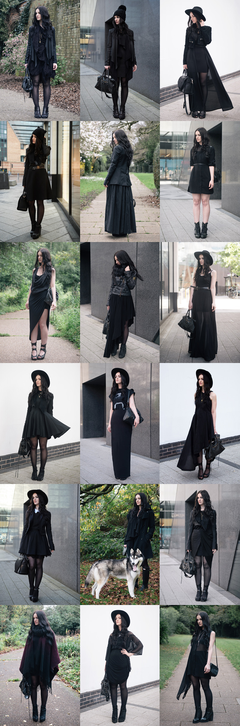 Fashion blogger Stephanie Brown of FAIIINT best all black gothic street style outfits of 2014