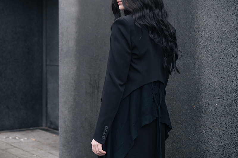 Fashion blogger Stephanie of FAIIINT wearing Theyskens' Theory Cropped Jacket, Mango draped cardigan, Isabel De Pedro printed shirt dress. All black everything street style details.