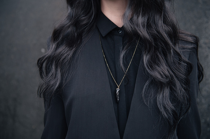 Fashion blogger Stephanie of FAIIINT wearing Theyskens' Theory Cropped Jacket, Isabel De Pedro printed shirt dress, BVRNT wooden necklace. All black everything street style details.