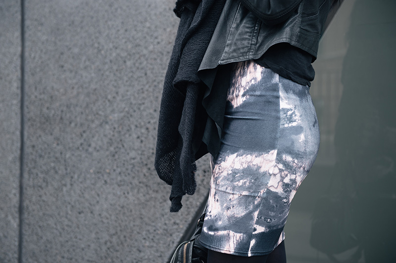 Fashion blogger Stephanie of FAIIINT wearing ASOS scarf, Barneys Original's draped leather jacket, Daisy Street oil spill printed dress. Details.