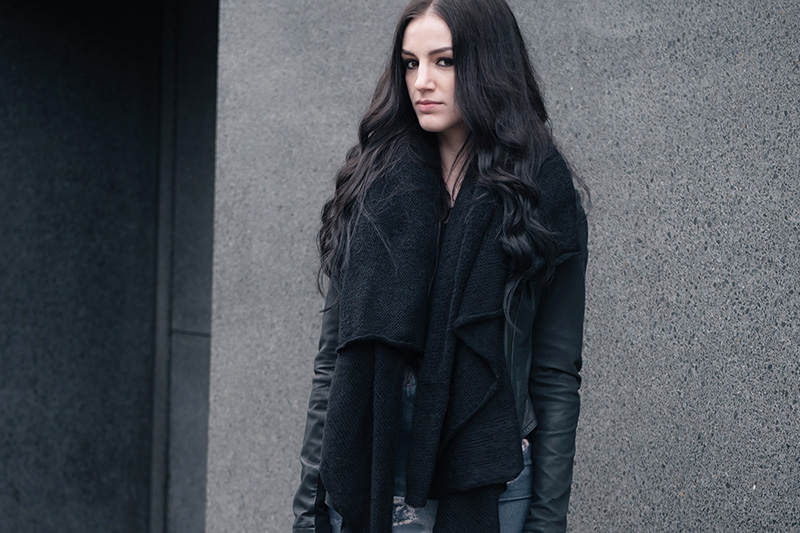 Fashion blogger Stephanie of FAIIINT wearing ASOS scarf, Barneys Original's draped leather jacket, Daisy Street oil spill printed dress.