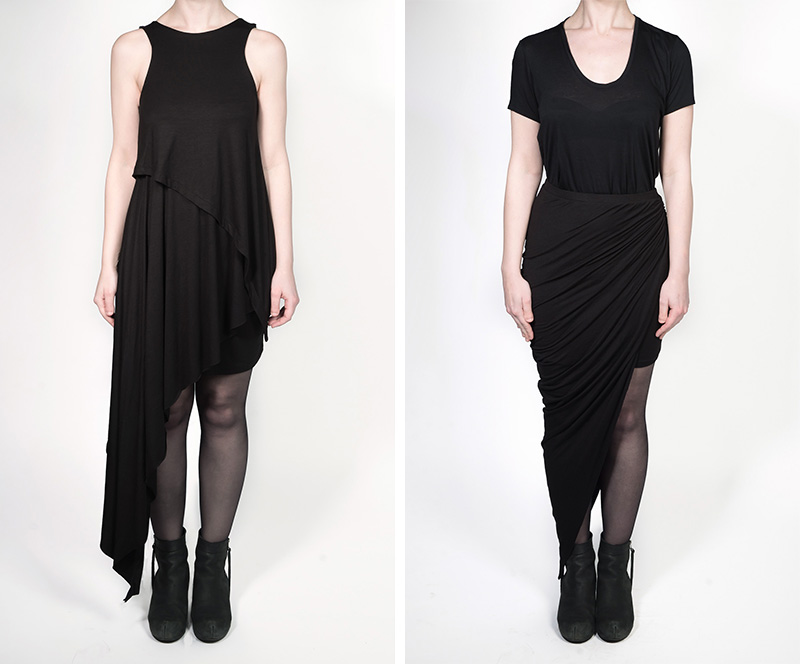 FAIIINT independent designer jersey collection all black draped asymmetric dress & skirt