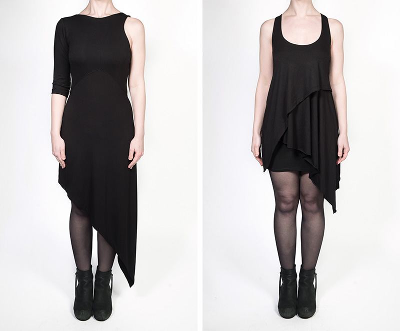 FAIIINT independent designer jersey collection all black draped asymmetric dress & tank top
