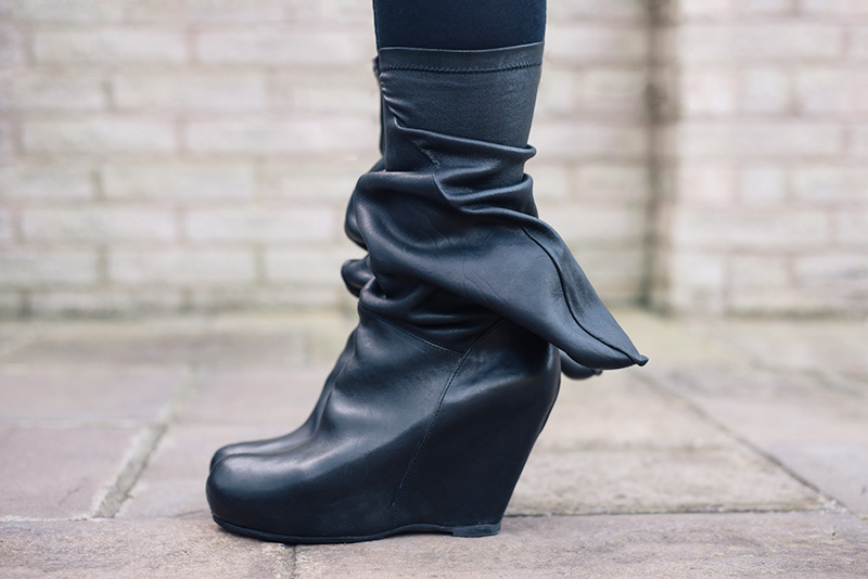 Rick Owens Leather Wedged Booties