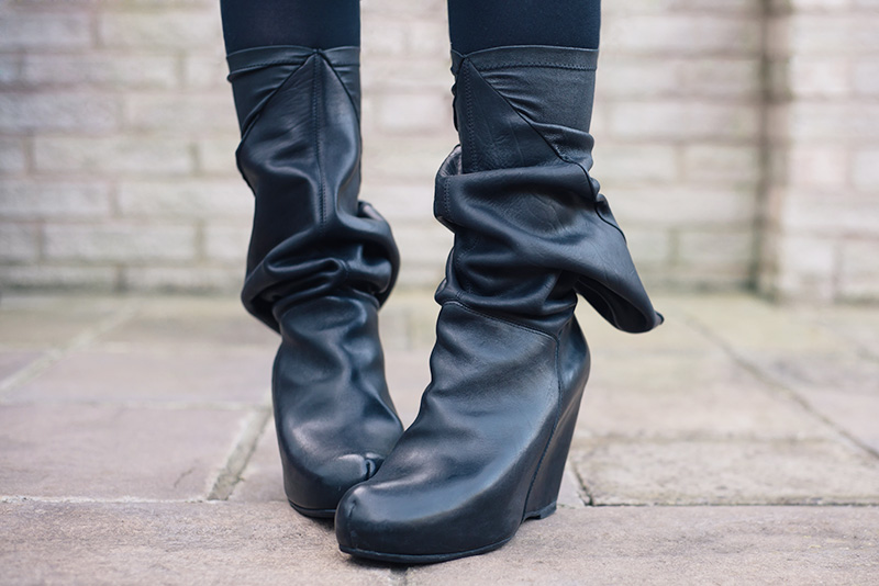 FAIIINT Rick Owens peaked back slouchy aw 2009 black leather wedge boots