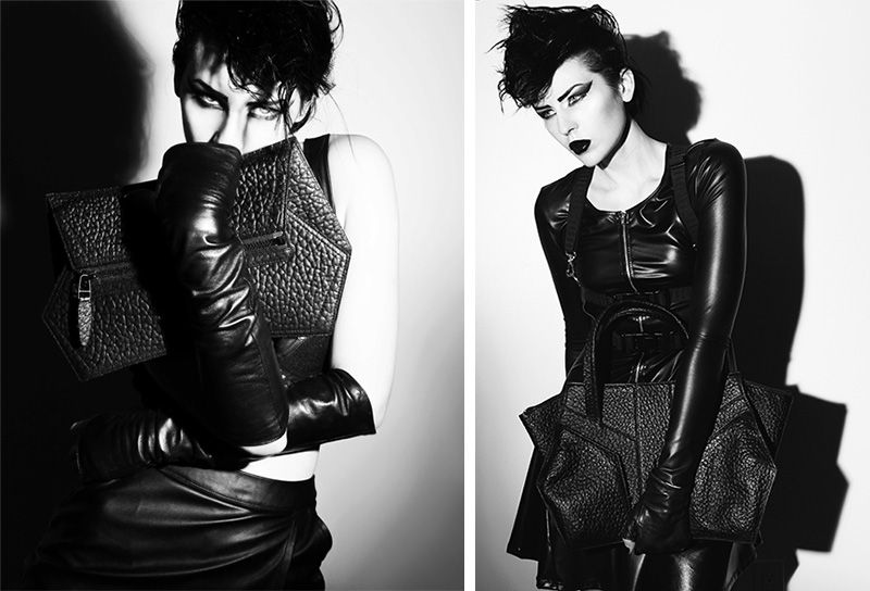 Niki English Vertigo handbags photographed by Ashley Joncas. Black & white futuristic rebel sci-fi lookbook editorial.