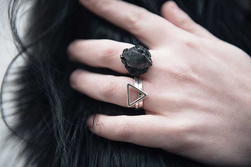 FAIIINT wearing Elemental Luxury Tibetan Black Phantom Quartz & Tourmaline Crystal Ring with Bloody Mary Metal silver Fire Alchemy & Personalised Stack rings.