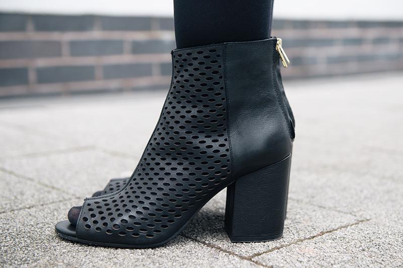 FAIIINT wearing Ash Footwear Fancy BIS Peep Toe Boots Black Laser Cut Out Boots.