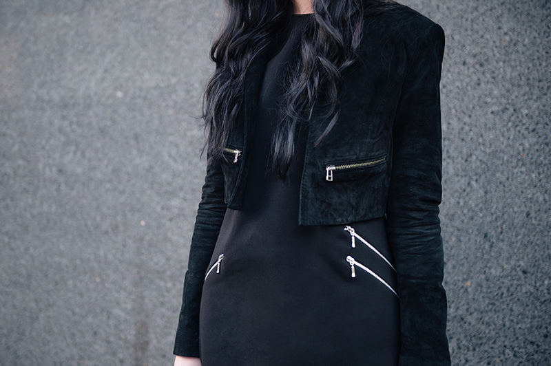 Fashion blogger Stephanie of FAIIINT wearing Topshop Cropped Suede Jacket, F&F at Tesco Zip Shift Dress. All black details.
