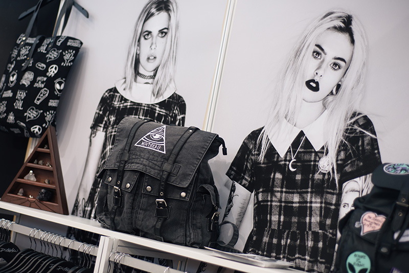 FAIIINT fashion blogger meet up event at London Edge 2015 Olympia Exhibition Centre. Disturbia stall rucksack bag & jewellery.