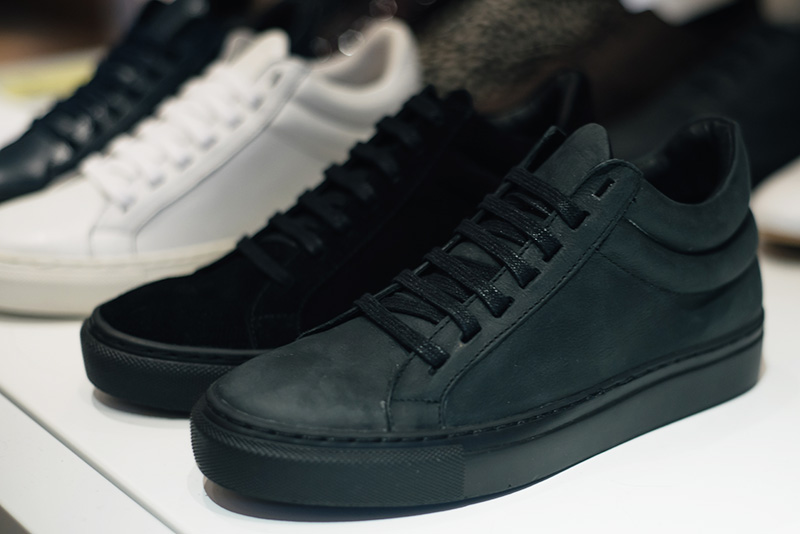 FAIIINT Fred's Shoes at PLFM London Shoe Show 2015. Washed black leather & suede monochrome minimalist simple high top sneakers trainers.