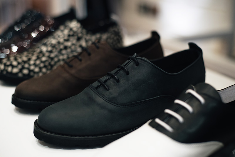 FAIIINT Fred's Shoes at PLFM London Shoe Show 2015. Minimalist classic brogues in brown & black washed leather & white black two tone.