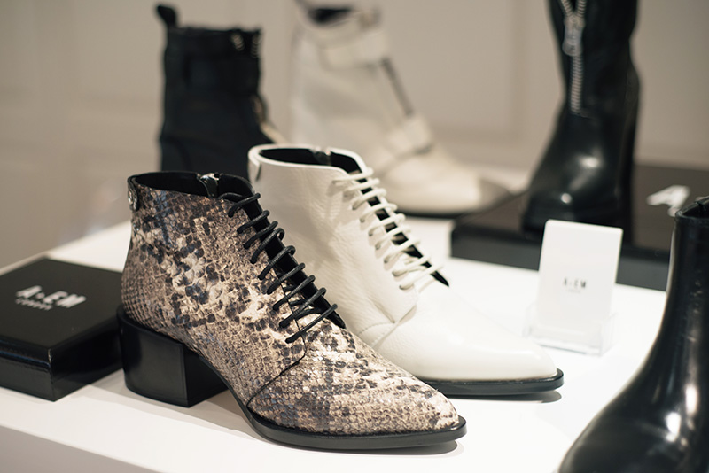 PLFM London footwear show press day Autumn Winter 2015. A + EM London shoes, white & grey pointed snakeskin lace up ankle boots.