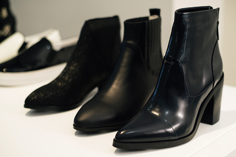 PLFM London footwear show press day Autumn Winter 2015. Senso black pointed glossy patent & textured leather ankle boots.