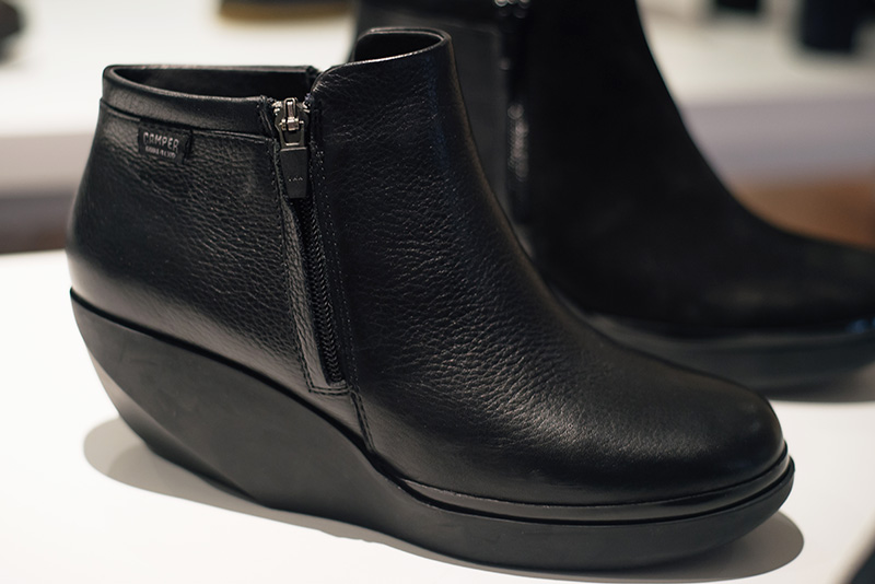 PLFM London footwear show press day Autumn Winter 2015. Camper shoes black leather wedge heels with silicone rubber wedge.