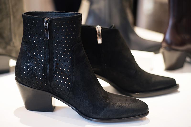 PLFM London footwear show press day Autumn Winter 2015. C Doux black suede ankle boots.