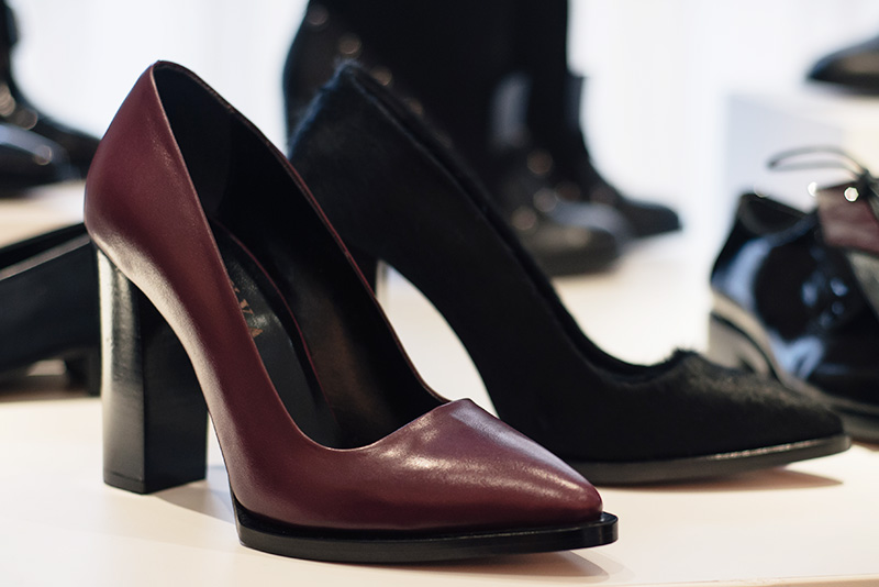 PLFM London footwear show press day Autumn Winter 2015. Havva pointed block heels in deep oxblood red leather & black ponyhair.