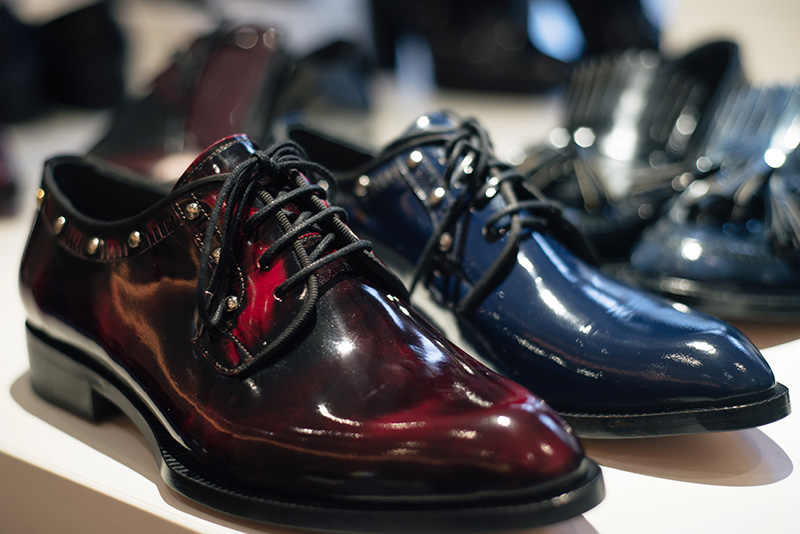 PLFM London footwear show press day Autumn Winter 2015. Havva deep oxblood red & navy blue black glossy patent smart brogues with studs.
