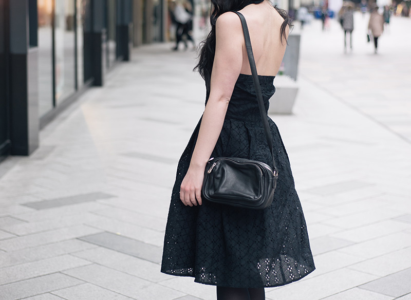 Fashion blogger Stephanie of FAIIINT wearing Uttam Boutique broderie anglaise dress, Betty Jackson zipped bag. All black gothic street style spring summer outfit details.