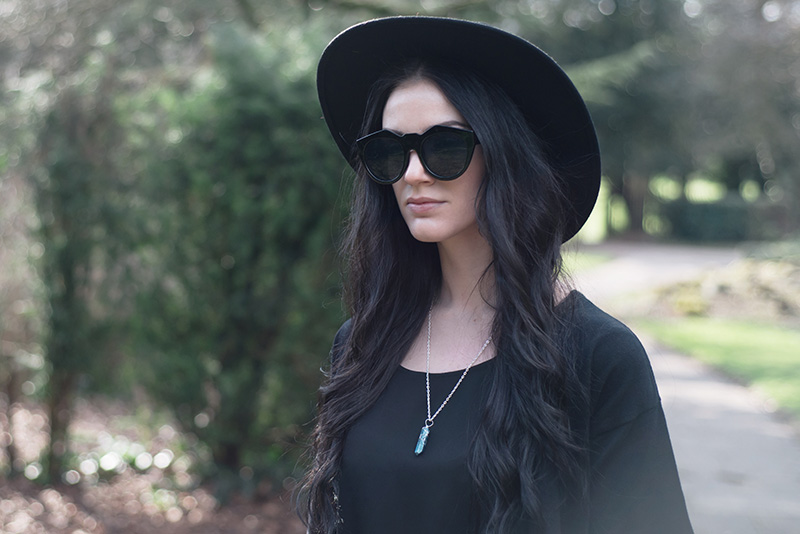 Fashion blogger Stephanie of FAIIINT wearing Dorothy Perkins lace trimmed cropped kimono, Catarzi fedora, Love drape side tee top, Sightstone aqua aura quartz necklace, Le Specs Neo Noir sunglasses, All black street style gothic spring outfit.