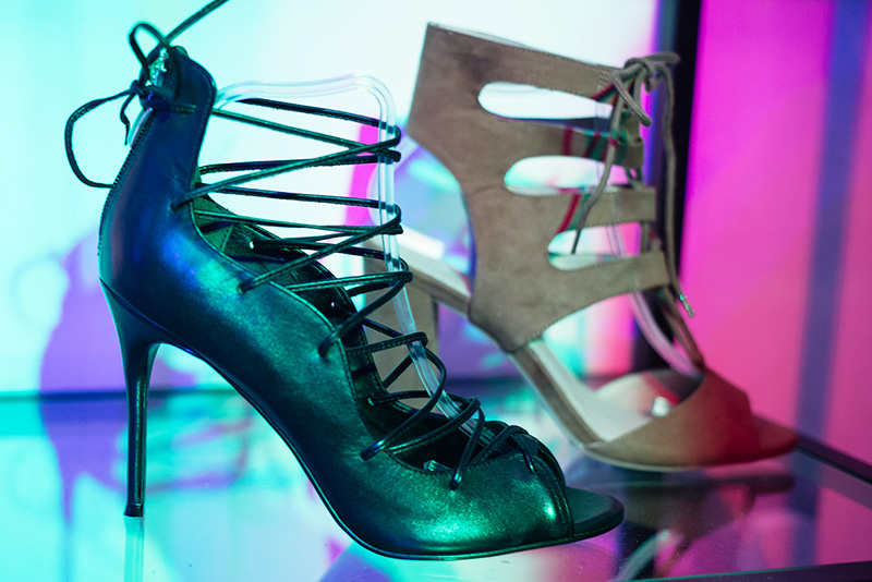 FAIIINT at Next #shoeboxjukebox fashion blogger event shoes party with Company Magazine. Lace up black stilettos.