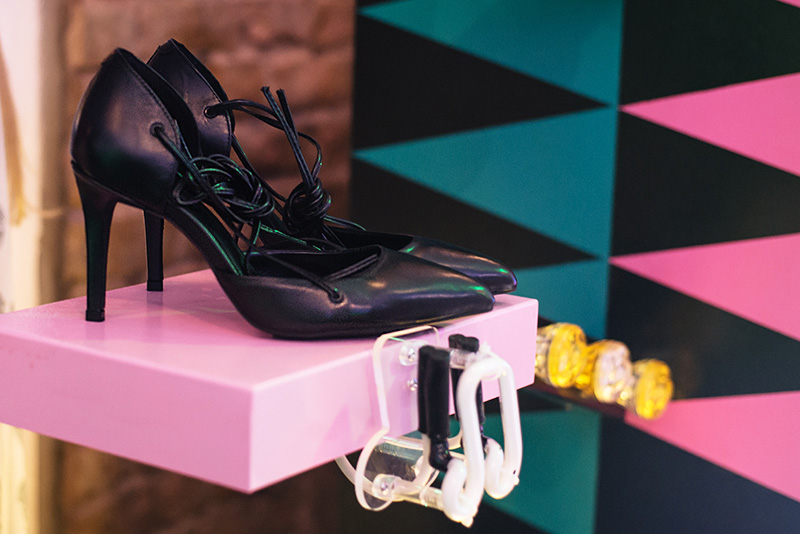 FAIIINT at Next #shoeboxjukebox fashion blogger event shoes party with Company Magazine. Black lace up pointed stiletto heels.
