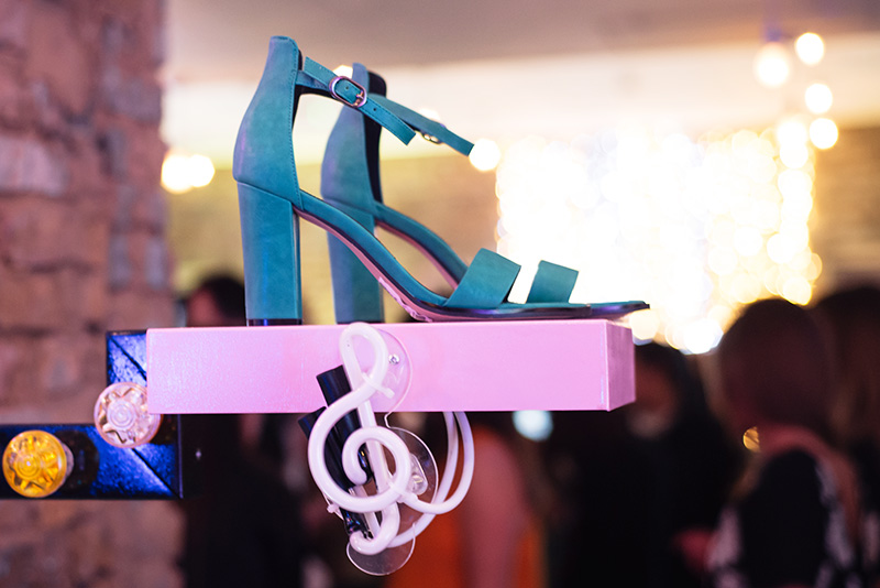 FAIIINT at Next #shoeboxjukebox fashion blogger event shoes party with Company Magazine. Turquoise green heel sandals.