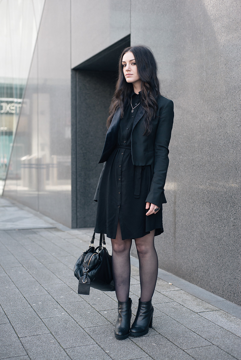 Fashion blogger Stephanie of FAIIINT wearing Todd Lynn x Topshop Tux Jacket, New Look Shirt Dress, Next Leather Platform Ankle Boots, Bloody Mary Metal Tribal Moon Necklace & Lonely Bone Ring, Elemental Luxury Phantom Quartz Rings, Mulberry Mabel Bag. All black Smart Gothic Dark Style Street Style Outfit.