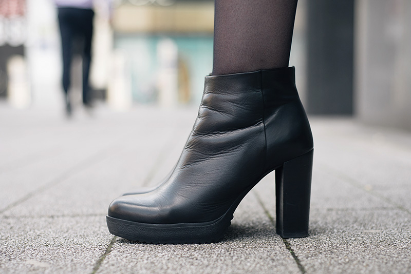 Fashion blogger Stephanie of FAIIINT wearing Next black leather platform ankle boots.