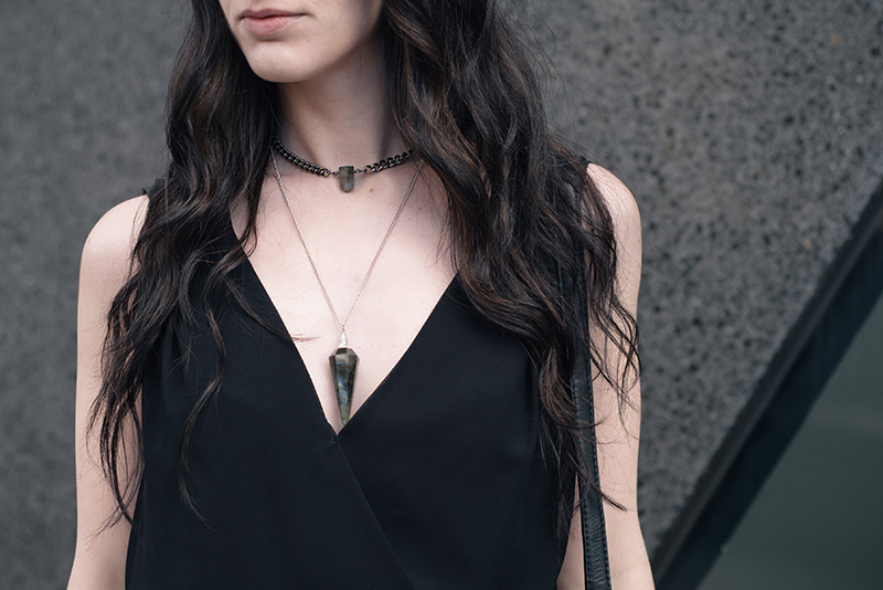 Fashion blogger Stephanie of FAIIINT wearing Warehouse chiffon wrap dress, Regal Rose Rua gemstone point choker, Regal Rose Cosmos Labradorite crystal pendulum necklace. Witchy details.