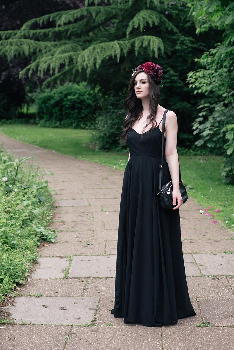 Black maxi dress at wedding