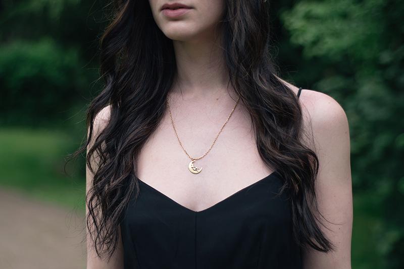 Fashion blogger FAIIINT wearing Phoebe Jewellery gold moonstone moon necklace & Religion olsen maxi dress. Details.