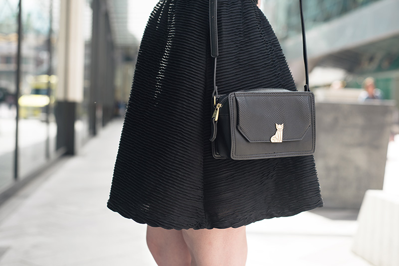 Fashion blogger Stephanie of FAIIINT wearing Topshop textured skater dress, Nica Venice black crossbody bag.