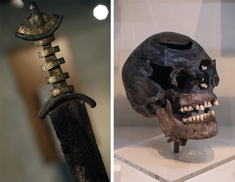 FAIIINT York weekend break. Yorkshire Museum Anglian Gilling Sword & fractured skull of local who fought the Roman Army in The Battle of Stanwick.