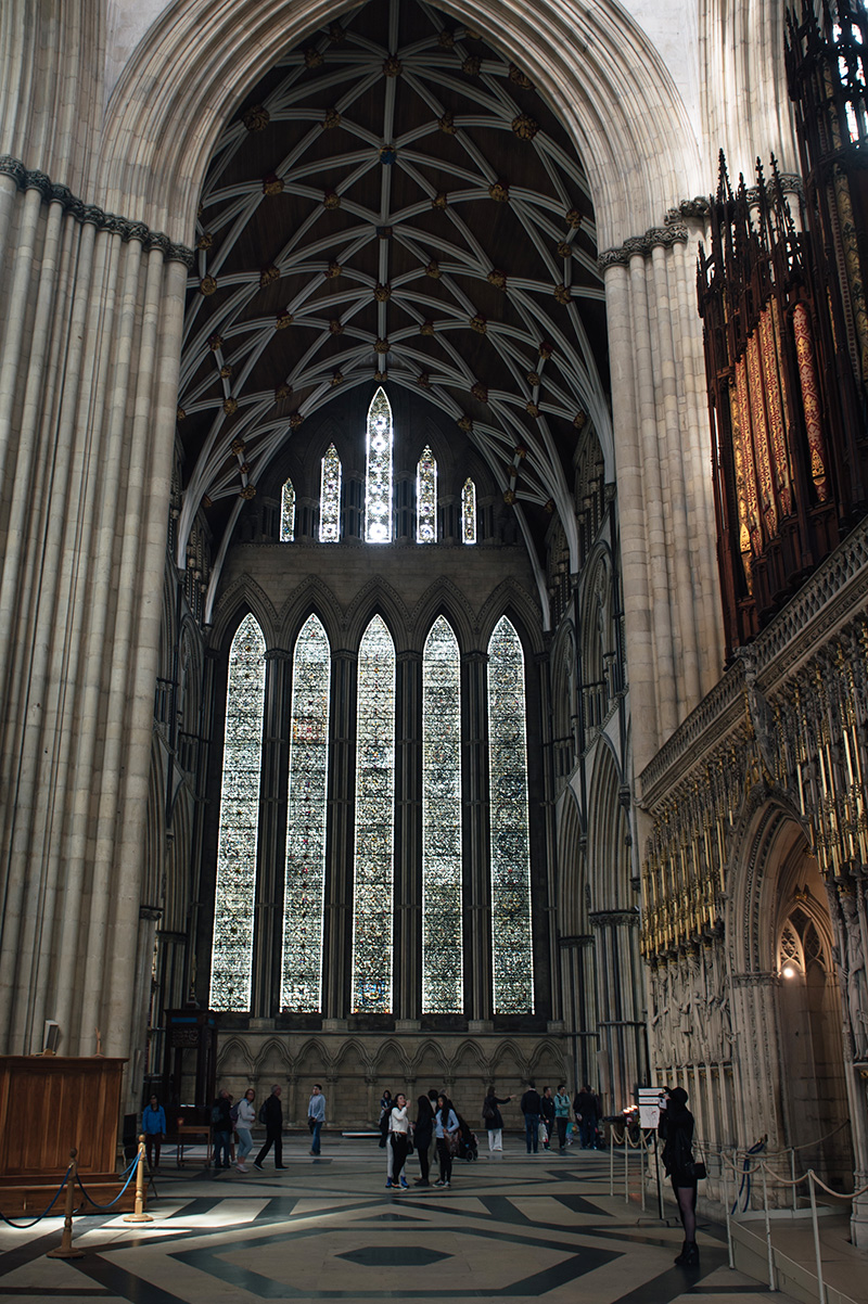 FAIIINT York weekend break. York Minster Cathedreal North Transept The Five Sisters stained glass window.