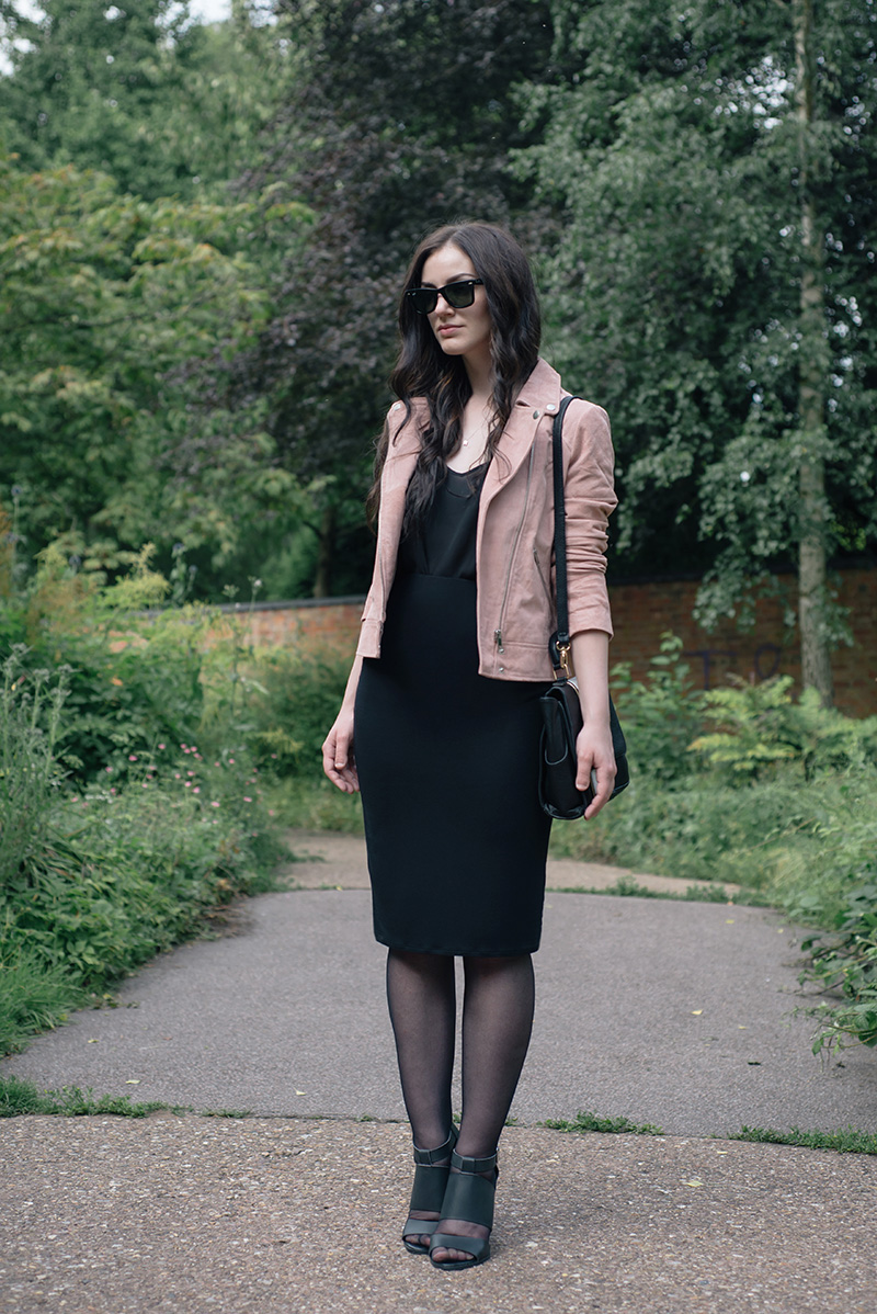 Fashion blogger Stephanie of FAIIINT wearing Dorothy Perkins Blush pink suede leather jacket, black camisole and skirt, Head Over Heels by Dune cut out heels, Ray-Ban Wayfarers. Day to night work wear dressing, street style.